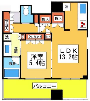 サンクタス川崎タワー1LDKの間取り