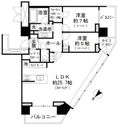 パークシティ武蔵小山 ザ タワー2LDKの間取り