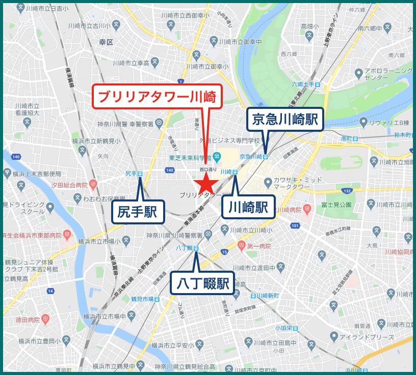 ブリリアタワー川崎の地図