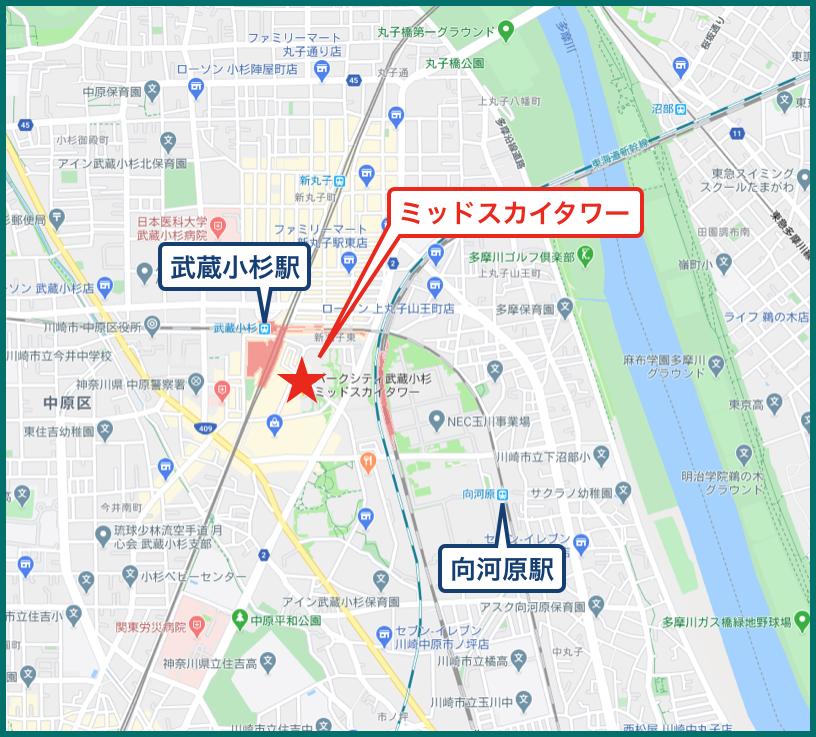 パークシティ武蔵小杉ミッドスカイタワーの地図