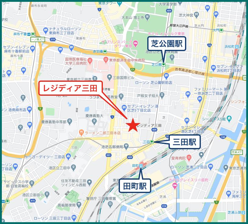 レジディア三田の地図