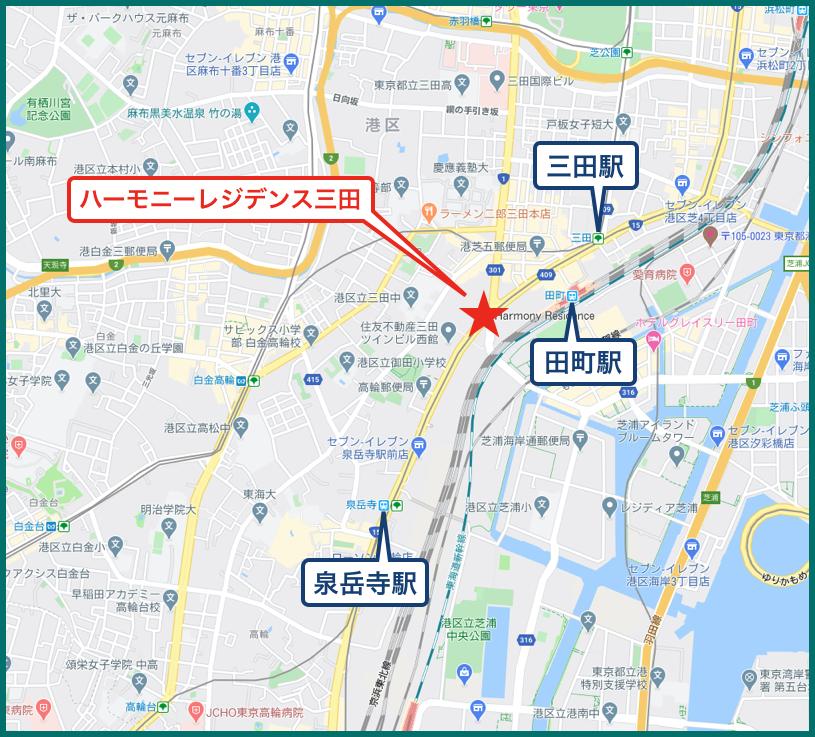 ハーモニーレジデンス三田の地図