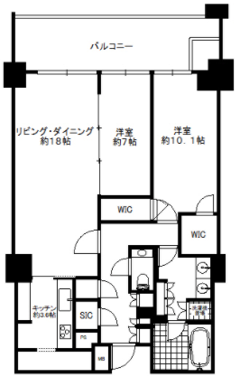 パークマンション三田綱町ザフォレスト2LDKの間取り