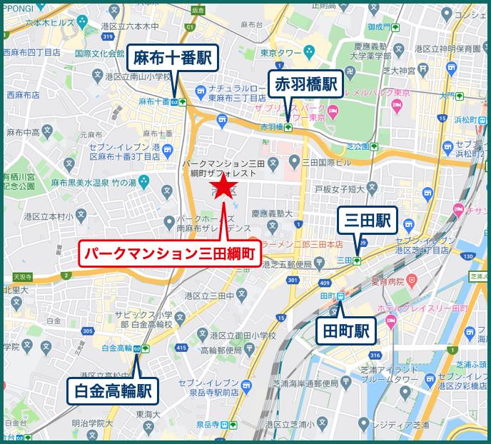 パークマンション三田綱町ザフォレストの地図