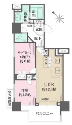 ザ・パークハウス赤坂レジデンス1LDKの間取り