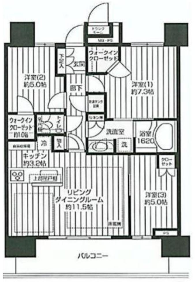 豊洲タワーの3LDK間取り図
