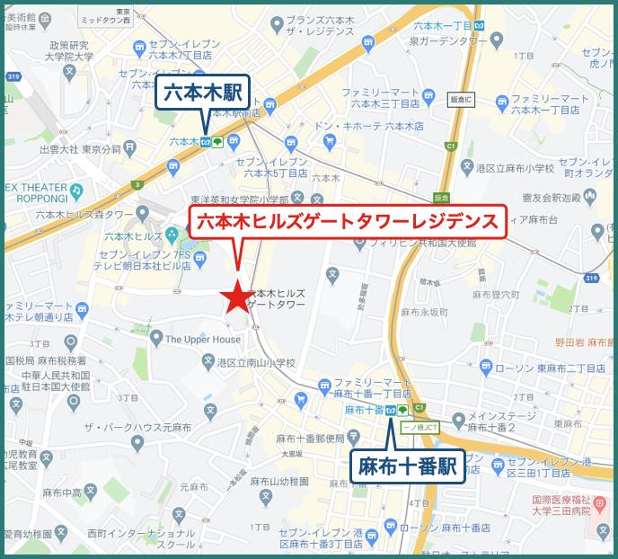 六本木ヒルズゲートタワーレジデンスの地図