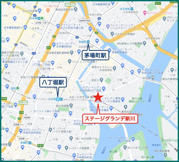 ステージグランデ新川の地図