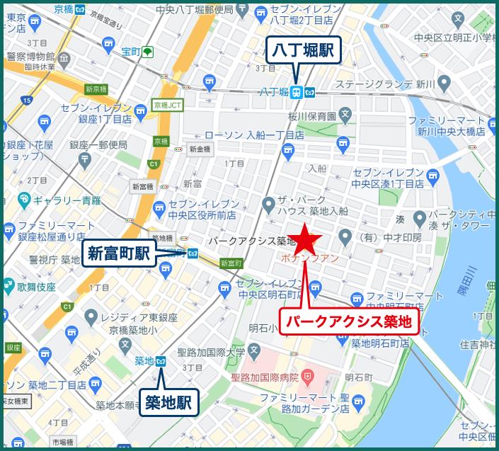 パークアクシス築地の地図