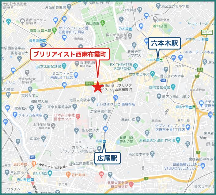 ブリリアイスト西麻布霞町の地図