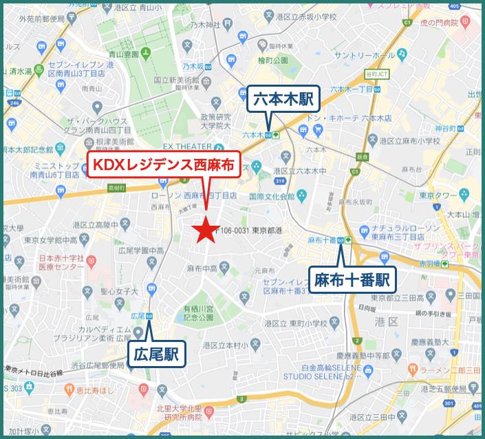 KDXレジデンス西麻布の地図