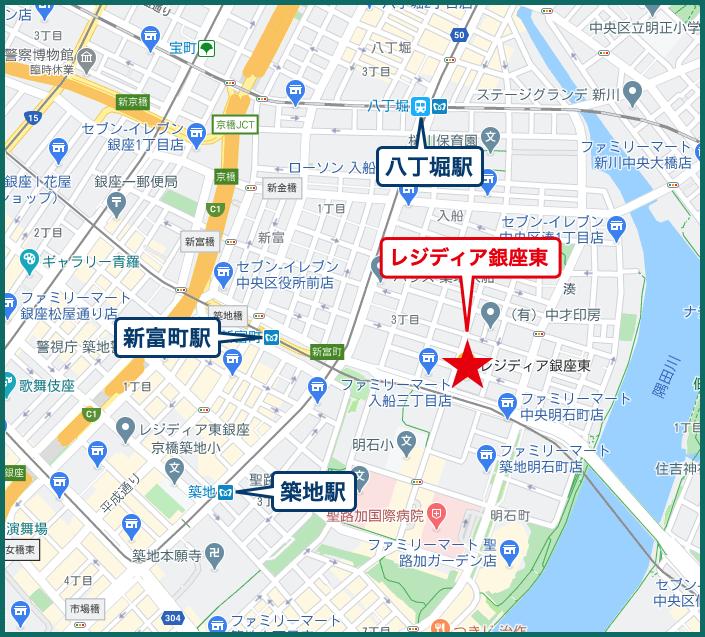 レジディア銀座東の地図