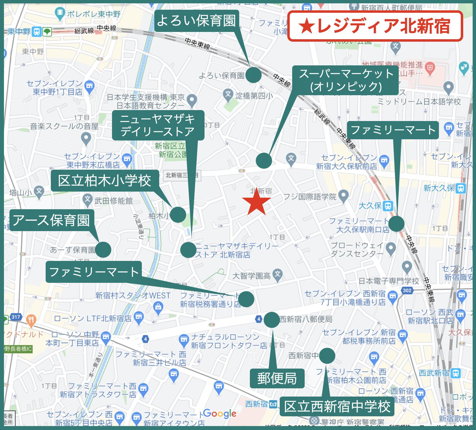 レジディア北新宿の周辺図