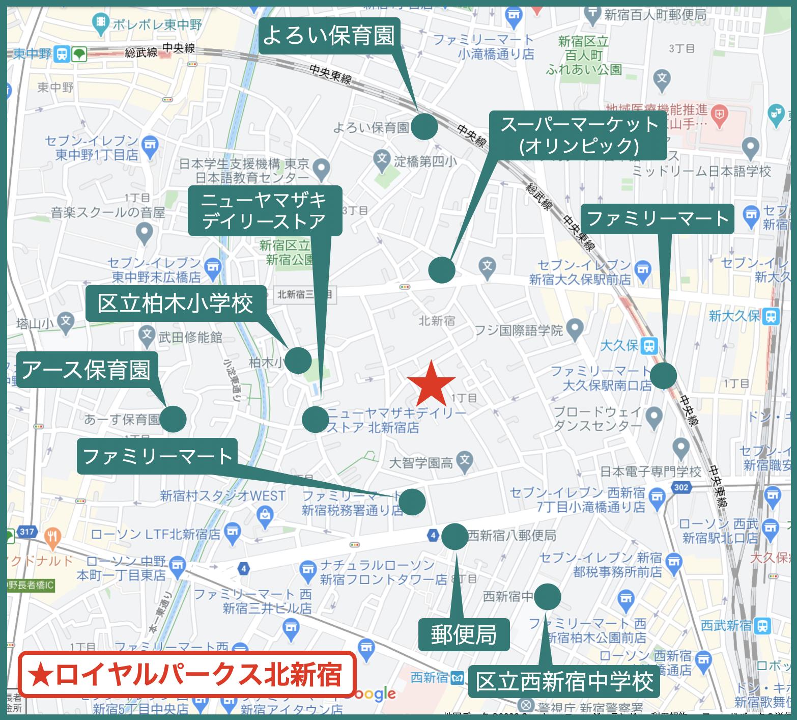 ロイヤルパークス北新宿の周辺図