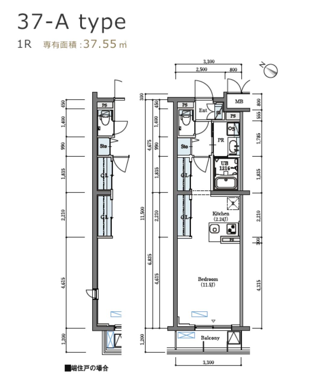 ロイヤルパークス北新宿の間取り(1K)