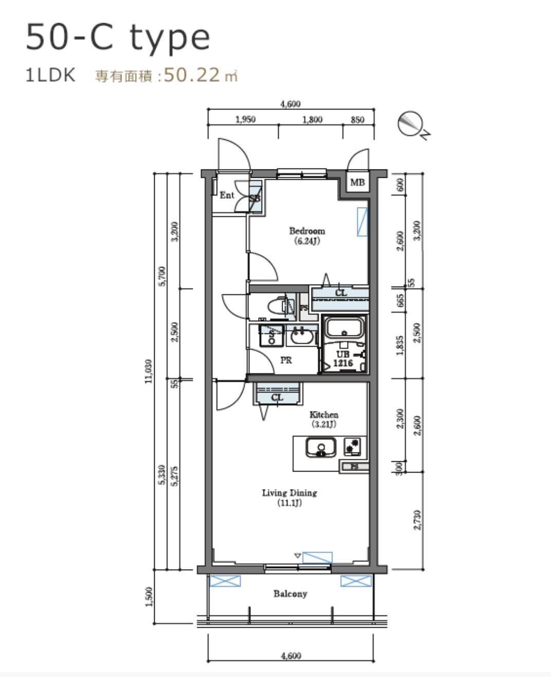 ロイヤルパークス北新宿の間取り(1LDK)