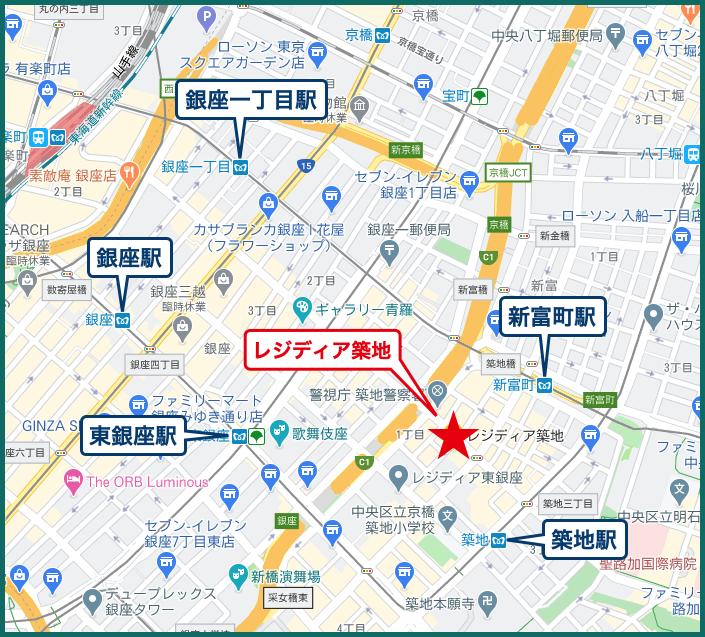 レジディア築地の地図