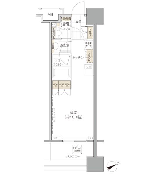 パークハビオ西新宿の間取り(STUDIO)