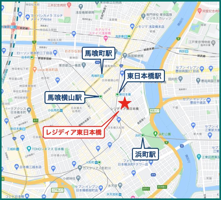 レジディア東日本橋の地図