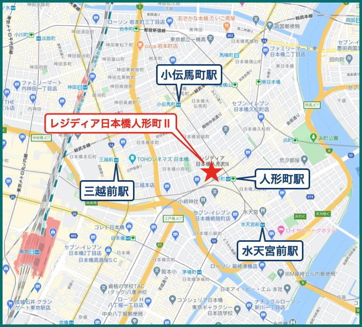 レジディア日本橋人形町Ⅱの地図