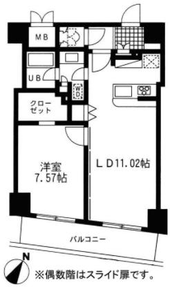 レジディア日本橋人形町Ⅱの1LDK間取り