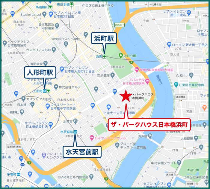 ザ・パークハウス日本橋浜町の地図