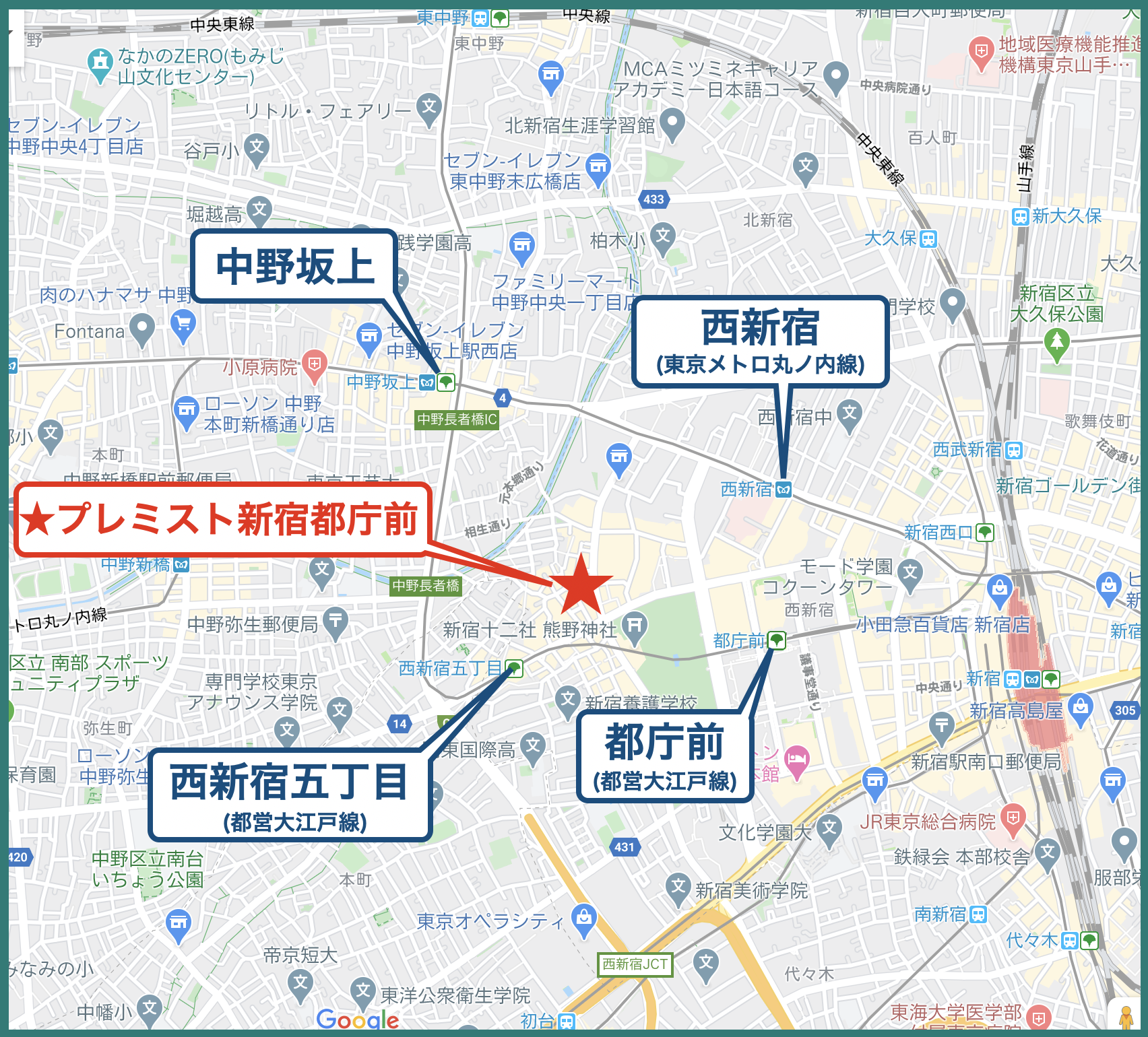 プレミスト新宿都庁前の立地