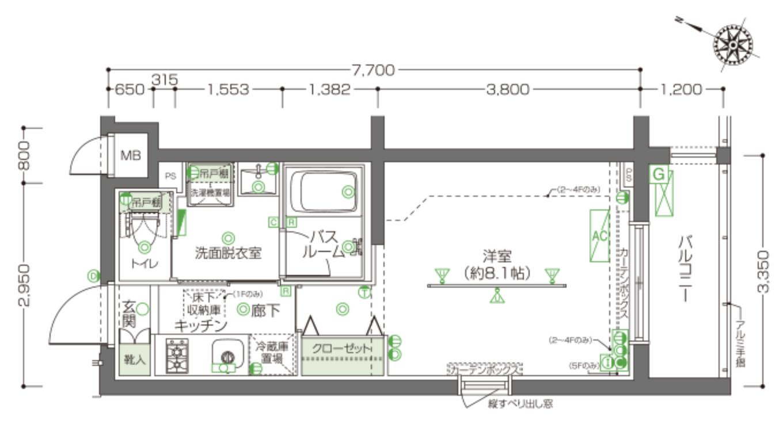 ZOOM北新宿の間取り(1K)