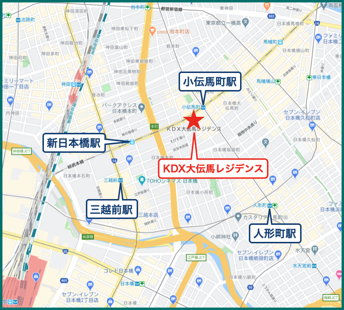 KDX大伝馬レジデンスの地図