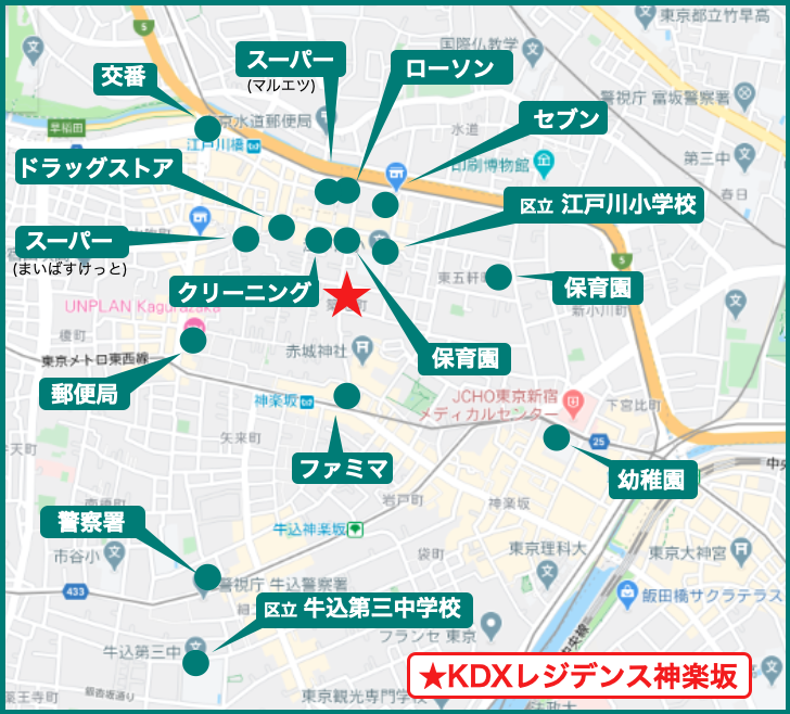 KDXレジデンス神楽坂の周辺施設