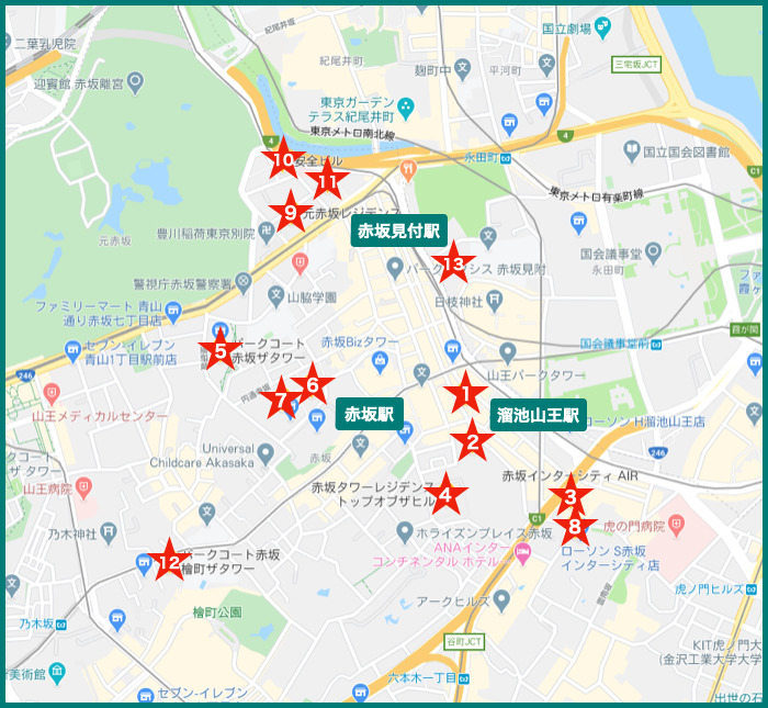 赤坂タワーマンションの地図