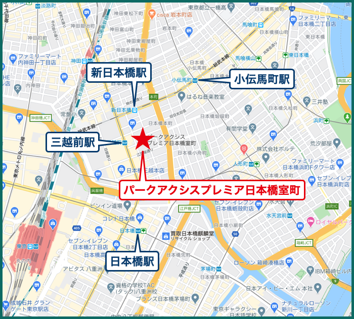 パークアクシスプレミア日本橋室町の地図
