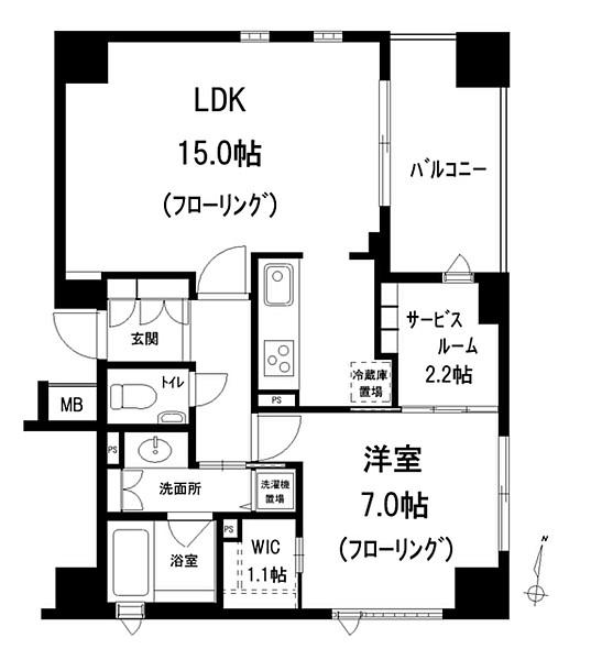 アトラス江戸川アパートメントの間取り(1LDK)