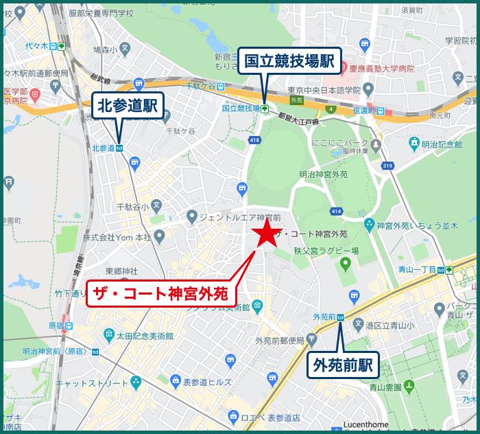 ザ・コート神宮外苑の地図