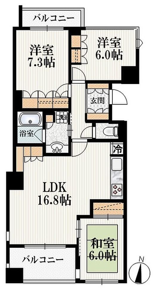 アトラス江戸川アパートメントの間取り(3LDK)