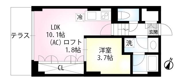 セリシエール神楽坂南町の間取り(1LDK)