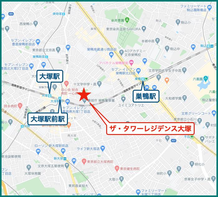 ザ・タワーレジデンス大塚の地図