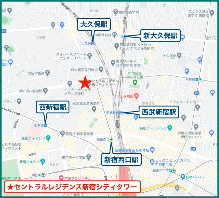 セントラルレジデンス新宿シティタワーの地図