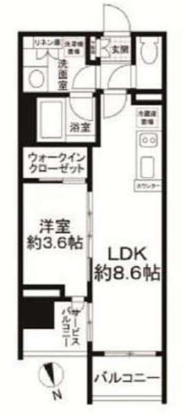 ディヴレ神楽坂の間取り(1LDK)