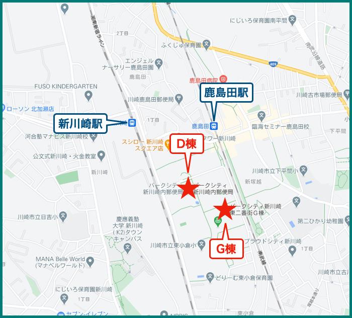 パークシティ新川崎の地図