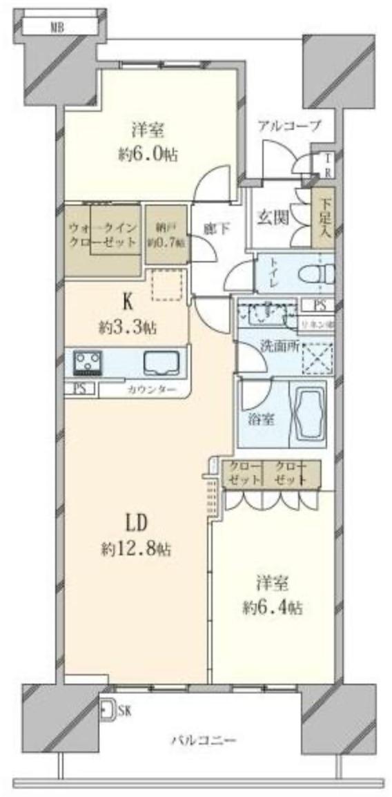 東京フロントコートの2LDK間取り図