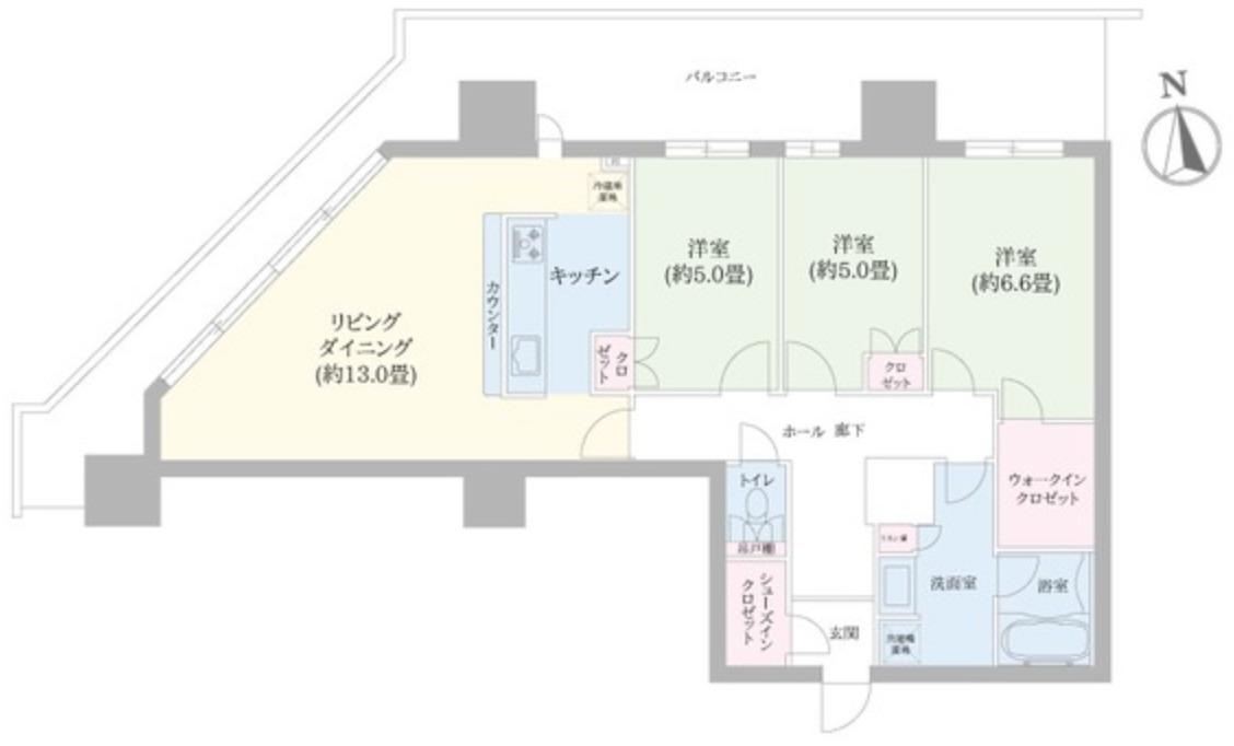 豊洲シエルタワーの3LDK間取り図