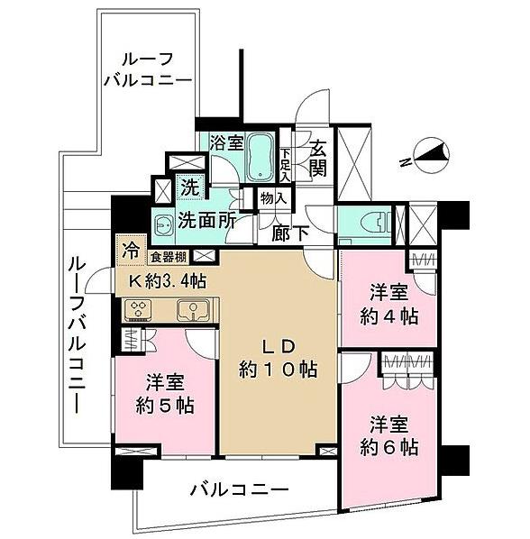 ザ・パークハウス市谷加賀町の間取り(3LDK)