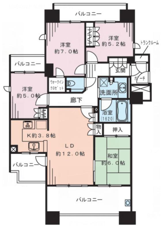 プライヴブルー東京4LDK の間取り図