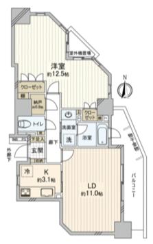 ヴィルクレール川崎タワー1LDKの間取り
