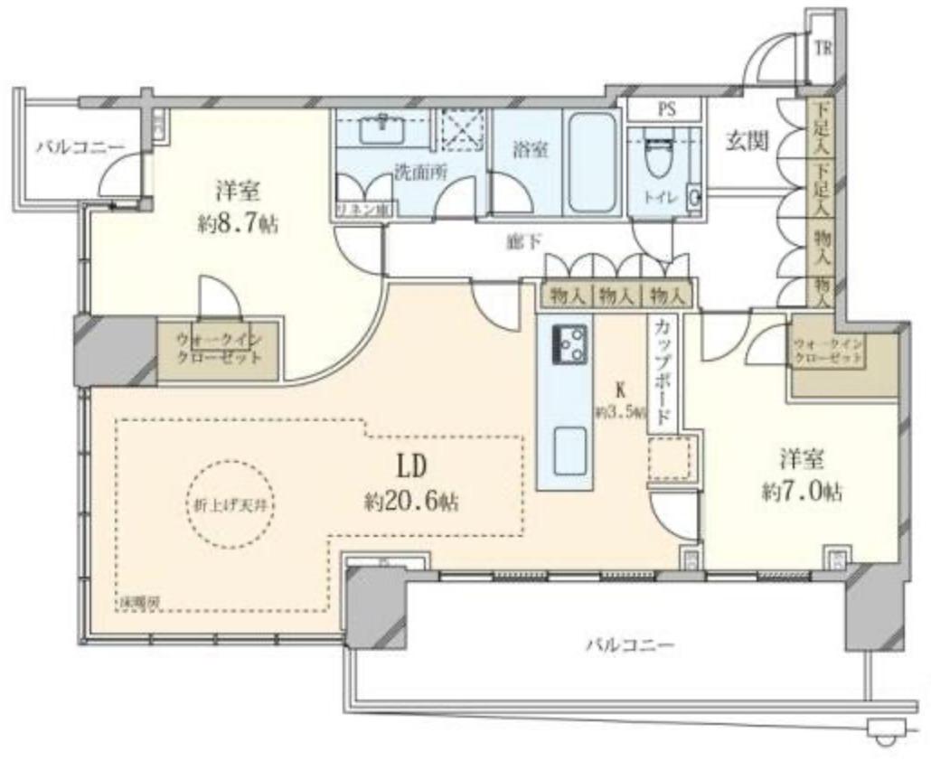 ベイズタワーの2LDK間取り図