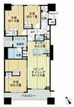 東京アインスリバーサイドタワー3LDKの間取り
