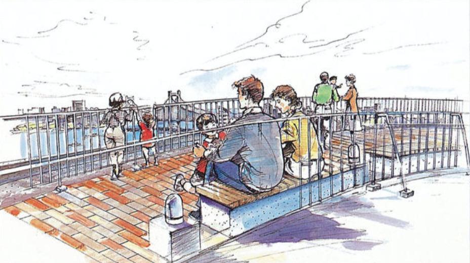 オーベルグランディオベイフロントの屋上テラス