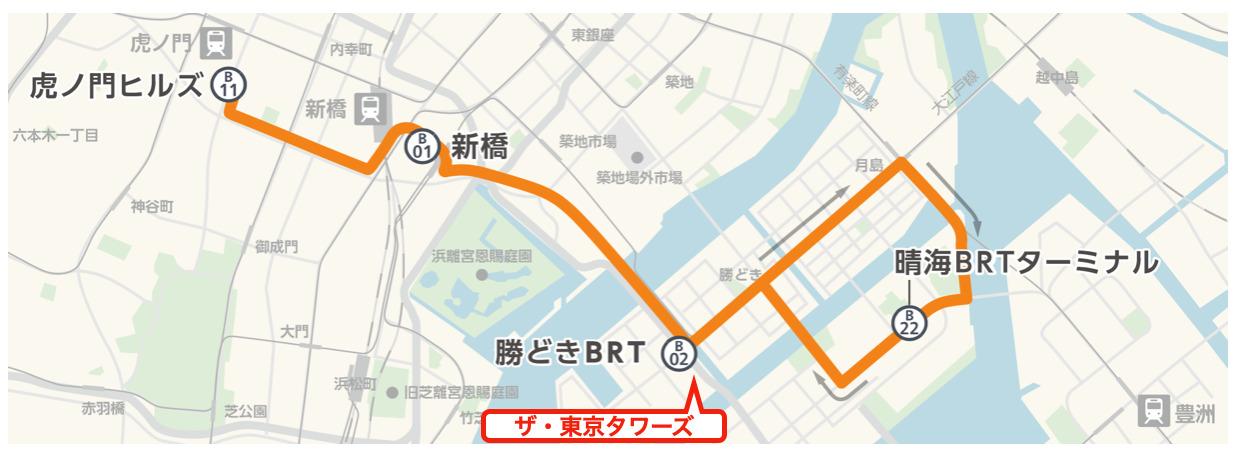 TOKYO BRTの路線図