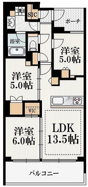 ミッドタウンコンド四谷の間取り(3LDK)